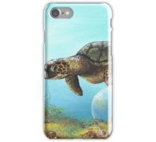 Green Turtle with Ocean Bubbles iPhone Case/Skin