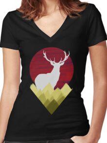 Mountain Deer Women's Fitted V-Neck T-Shirt