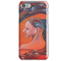 Red Peacock Girl with Flowing Hair iPhone Case/Skin