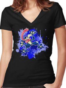 Greninja Makes A Splash Women's Fitted V-Neck T-Shirt