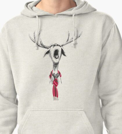 Christmas Deer hand drawing singing loudly with red white green scarf Pullover Hoodie