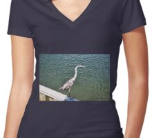 Tri-Colored Heron, on the Wall Women's Fitted V-Neck T-Shirt