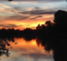 Sunset over Earlswood Lakes Sticker