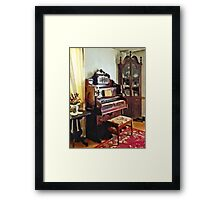 Organ in Victorian Parlor with Vase Framed Print