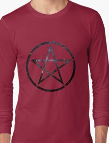 Pentagram Blue Galaxy Long Sleeve T-Shirt