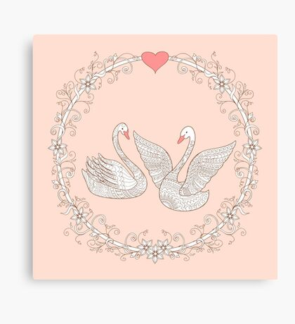 couple swans Canvas Print