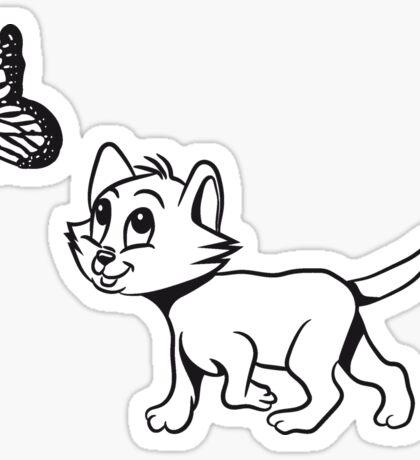 Katze baby süss schmetterling  Sticker