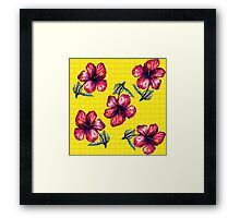 Yellow Hibiscus Pattern Framed Print