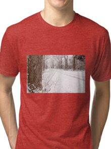 Snowy Country Road Tri-blend T-Shirt