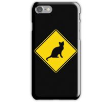 Cat Crossing Traffic Sign - Diamond - Yellow & Black iPhone Case/Skin