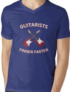 Guitarists Finger Faster. Funny design for a guitarist or guitar player. Love guitars? Buy this! Mens V-Neck T-Shirt