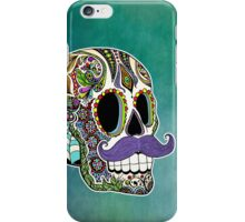 Mustache Sugar Skull (Color Version) iPhone Case/Skin