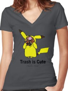 Trash is cute Women's Fitted V-Neck T-Shirt