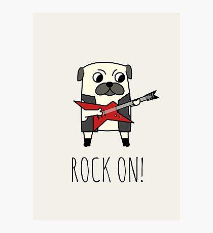 Rockstar Pug Photographic Print
