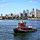 Philadelphia PA - Tugboat by Philadelphia Skyline by Susan Savad