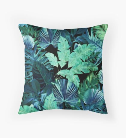 Dark Tropical Pattern Throw Pillow