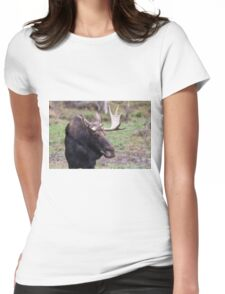 Large moose in a forest Womens Fitted T-Shirt