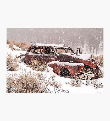 Auto in Snowstorm Photographic Print
