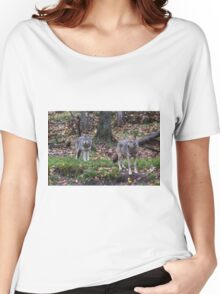 Pair of coyotes in a forest Women's Relaxed Fit T-Shirt