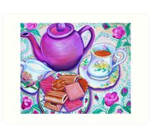 Pink Tea with Roses Art Print