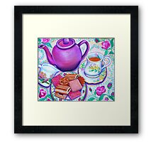 Pink Tea with Roses Framed Print