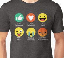 I Love Swimming Emoji Emoticon Graphic Tee Unisex T-Shirt