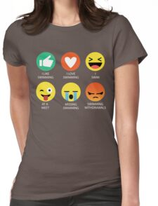 I Love Swimming Emoji Emoticon Graphic Tee Womens Fitted T-Shirt