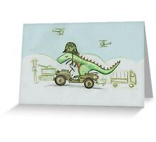Dinosaur soldier Greeting Card