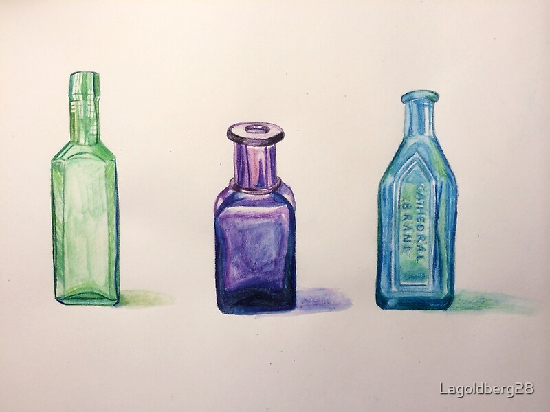 Antique glass bottles painting by lagoldberg28 redbubble Painting old glass bottles