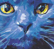 Russian Blue Cat Bright colorful pop kitty art by bentnotbroken11