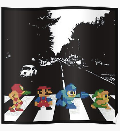 Nintendo Sprites on Abbey Road Poster