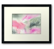Abstract watercolor - green and pink Framed Print