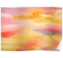 Abstract watercolor - yellow and pink Poster