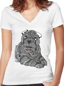 Sharpei Women's Fitted V-Neck T-Shirt