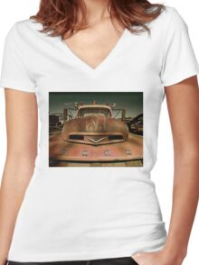 Abandoned Ford F6 Firetruck Women's Fitted V-Neck T-Shirt
