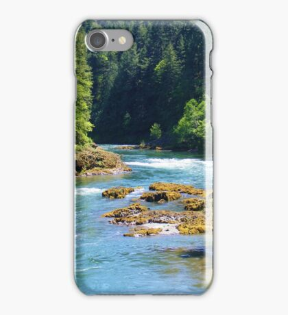 BEAUTIFUL FLOWING OREGON RIVER IN THE WOODS iPhone Case/Skin