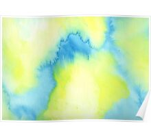 Abstract watercolor - yellow and blue Poster