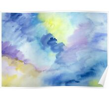 Abstract watercolor - yellow, blue and purple Poster