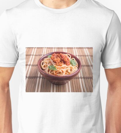 Italian spaghetti with tomato relish and basil leaves Unisex T-Shirt