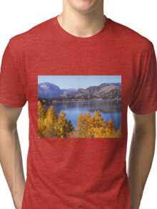 JUNE LAKE WITH GOLDEN FALL TREES Tri-blend T-Shirt