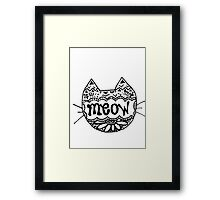 "Decorated ""Meow"" Cat Framed Print"