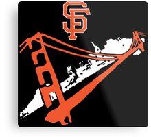 San Francisco Giants Stencil White Metal Print