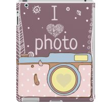 Vector hand drawn photo camera with text iPad Case/Skin