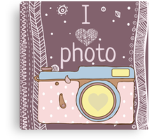 Vector hand drawn photo camera with text Canvas Print