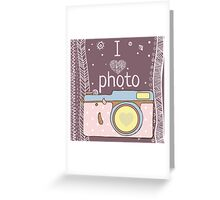 Vector hand drawn photo camera with text Greeting Card