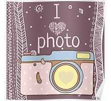 Vector hand drawn photo camera with text Poster