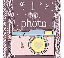 Vector hand drawn photo camera with text Photographic Print