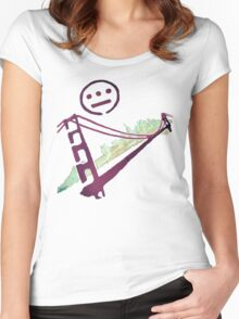 Stencil Golden Gate San Francisco Outline Women's Fitted Scoop T-Shirt