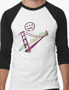 Stencil Golden Gate San Francisco Outline Men's Baseball ¾ T-Shirt