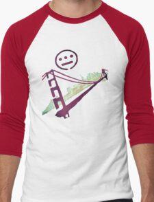 Stencil Golden Gate San Francisco Outline Men's Baseball ¾ T-Shirt